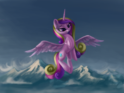 Size: 3000x2250 | Tagged: safe, artist:flusanix, princess cadance, alicorn, pony, female, flying, grin, high res, mare, mountain, mountain range, smiling, solo
