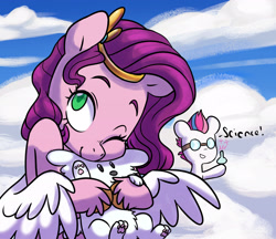 Size: 2772x2391 | Tagged: safe, artist:chub-wub, cloudpuff, pipp petals, zipp storm, dog, flying pomeranian, pegasus, pomeranian, pony, g5, adorapipp, beaker, cloud, cute, duo, female, goggles, grin, mare, one eye closed, puppy, safety goggles, science, siblings, sisters, sky, smiling, unshorn fetlocks, winged dog, wink