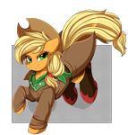 Size: 3109x3250 | Tagged: safe, artist:pridark, applejack, earth pony, pony, applejack's hat, boots, clothes, commission, cowboy hat, digital art, female, freckles, hat, high res, jacket, looking at you, mare, neckerchief, shoes, simple background, smiling, smiling at you, solo, transparent background