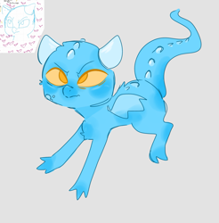 Size: 1569x1593 | Tagged: safe, artist:mushy, dragon, blue, horns, spikes, yellow eyes