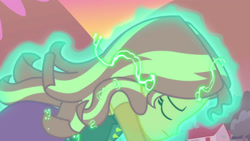 Size: 3410x1920 | Tagged: safe, screencap, sunset shimmer, equestria girls, equestria girls series, forgotten friendship, clothes, eyes closed, female, jacket, leather, leather jacket, solo