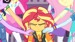 Size: 3410x1920 | Tagged: safe, screencap, applejack, fluttershy, pinkie pie, rainbow dash, rarity, sci-twi, sunset shimmer, twilight sparkle, equestria girls, equestria girls series, forgotten friendship, applejack's hat, canterlot high, clothes, cowboy hat, cutie mark, cutie mark on clothes, denim skirt, eyes closed, female, geode of empathy, geode of fauna, geode of sugar bombs, glasses, hairpin, hat, high heels, hoodie, humane five, humane seven, humane six, jacket, jewelry, leather, leather jacket, magical geodes, necklace, ponytail, rarity peplum dress, shoes, skirt, tanktop