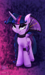 Size: 1800x3000 | Tagged: safe, artist:darksly, twilight sparkle, alicorn, pony, black sclera, clothes, colored wings, evil, fangs, female, high res, lidded eyes, mare, multicolored wings, smiling, solo, twilight sparkle (alicorn), wings