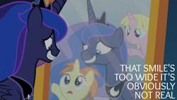 Size: 1280x720   Tagged: safe, edit, edited screencap, editor:quoterific, screencap, princess luna, alicorn, pony, unicorn, a royal problem, season 7, crown, female, filly, grin, jewelry, mare, mirror, open mouth, regalia, smiling