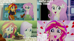 Size: 1280x720   Tagged: safe, edit, edited screencap, editor:quoterific, screencap, fluttershy, ray, sunset shimmer, eqg summertime shorts, equestria girls, pet project, clothes, cute, cutie mark, cutie mark on clothes, female, hairpin, male, open mouth, shimmerbetes, shyabetes, tanktop