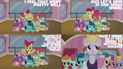 Size: 1280x720   Tagged: safe, edit, edited screencap, editor:quoterific, screencap, apple bloom, hoofer steps, earth pony, pony, on your marks, season 6, apple bloom's bow, bow, colt, cross-eyed, female, filly, hair bow, male, mare, open mouth