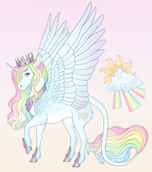 Size: 2820x3180   Tagged: safe, artist:bluet0ast, oc, oc only, alicorn, pony, abstract background, alicorn oc, crown, curved horn, eyebrows, eyebrows visible through hair, high res, hoof shoes, horn, jewelry, leonine tail, looking at you, magical lesbian spawn, male, multicolored hair, offspring, parent:princess celestia, parent:rainbow dash, peytral, rainbow hair, raised hoof, regalia, side view, smiling, smiling at you, solo, stallion, wings