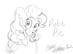 Size: 855x635   Tagged: safe, artist:ceehoff, pinkie pie, human, bust, eyelashes, female, grin, humanized, lineart, monochrome, signature, simple background, smiling, solo, white background