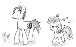 Size: 1100x686   Tagged: safe, artist:ceehoff, sweetie belle, oc, oc:connor, pony, unicorn, bedroom eyes, crush, female, filly, heart, male, monochrome, signature, simple background, smiling, stallion, white background, wide eyes, worried