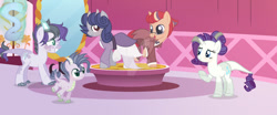 Size: 1024x424   Tagged: safe, artist:silverartmoon, rarity, oc, dracony, hybrid, pony, unicorn, base used, carousel boutique, clothes, dress, female, interspecies offspring, magical lesbian spawn, male, mare, offspring, parent:rarity, parent:spike, parent:sunset shimmer, parent:twilight sparkle, parents:sparity, parents:sunsetsparkle, stallion, suit