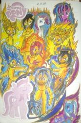 Size: 1536x2318   Tagged: safe, artist:karadeg, rarity, starlight glimmer, trixie, oc, oc:karadeg, crossover, dragon ball super, dragon ball z, super saiyan, super saiyan 2, super saiyan blue, super saiyan god, ultra instinct