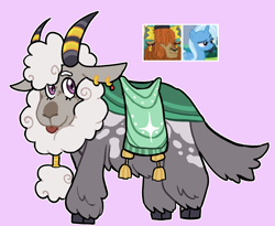 Size: 1418x1162   Tagged: safe, artist:iesbeans, prince rutherford, trixie, oc, hybrid, original species, yakony, interspecies offspring, offspring, parent:prince rutherford, parent:trixie