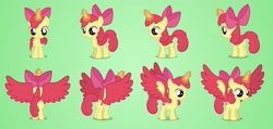 Size: 2600x1238 | Tagged: safe, artist:brutalweather studio, apple bloom, alicorn, pony, adorabloom, alicornified, bloomicorn, colored wings, commission, cute, female, filly, glowing horn, horn, magic, magic aura, model, part 2, race swap, solo, turnaround, updated, wings