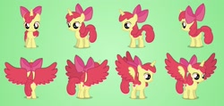 Size: 2600x1238 | Tagged: safe, artist:brutalweather studio, apple bloom, alicorn, pony, adorabloom, alicornified, bloomicorn, colored wings, commission, cute, female, filly, horn, model, part 1, race swap, solo, turnaround, updated, wings