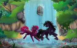 Size: 9000x5600 | Tagged: safe, artist:martazap3, oc, pony, unicorn, female, horn, male, mlpoc, nature, waterfall