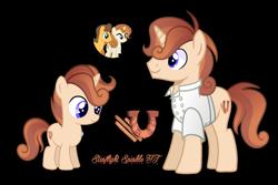 Size: 1518x1011 | Tagged: safe, artist:starflightsparkleyt, caramel, cinnamon chai, oc, oc:spicy sweet, pony, unicorn, clothes, colt, male, offspring, parent:caramel, parent:cinnamon chai, simple background, stallion, transparent background