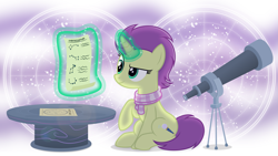 Size: 4025x2263 | Tagged: safe, artist:devfield, oc, oc only, oc:sky spark, pony, unicorn, clothes, constellation, drawing, dreamworks face, female, glowing horn, high res, horn, lens flare, levitation, magic, magic aura, mare, raised hoof, scarf, scroll, shadow, show accurate, sitting, smiling, smirk, solo, star chart, stars, table, telekinesis, telescope, tripod, unicorn oc