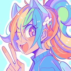 Size: 1080x1080 | Tagged: safe, artist:bland__boy, rainbow dash, human, bust, humanized, open mouth, peace sign, portrait, solo