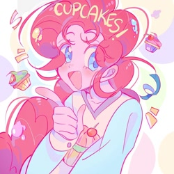 Size: 1080x1080 | Tagged: safe, artist:bland__boy, pinkie pie, human, bust, cupcake, food, humanized, open mouth, solo