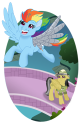 Size: 1024x1577 | Tagged: safe, artist:faitheverlasting, daring do, rainbow dash, fanfic:ponyville noire, amputee, artificial wings, augmented, bridge, flying, happy, prosthetic limb, prosthetic wing, prosthetics, sad, wings