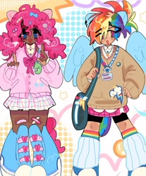 Size: 1080x1307   Tagged: safe, artist:bland__boy, pinkie pie, rainbow dash, human, alternate hairstyle, bandaid, clothes, converse, cutie mark, cutie mark on clothes, duo, ear piercing, eared humanization, earring, humanized, jewelry, leg warmers, peace sign, piercing, pigtails, shoes, shoulder bag, skirt, sweater, tailed humanization, twintails, winged humanization, wings, wonderbolts logo
