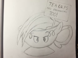 Size: 1386x1040   Tagged: safe, artist:rainbowdash1804, rainbow dash, cup, female, inanimate tf, monochrome, objectification, sign, solo, teacup, teacupified, traditional art, transformation