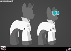 Size: 2826x2049   Tagged: safe, artist:isaac_pony, pony, unicorn, badge, buttons, doom equestria, female, glasses, horn, logo, male, scientist, text, uac, vector