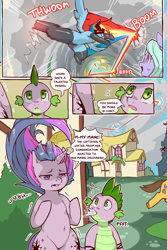 Size: 960x1440   Tagged: safe, artist:cold-blooded-twilight, caramel, flitter, rainbow dash, spike, twilight sparkle, dragon, pegasus, pony, unicorn, cold blooded twilight, comic:cold storm, bipedal, both cutie marks, carousel boutique, cloud, cloudy, comic, dialogue, female, kicking, male, messy mane, onomatopoeia, rainbow trail, raised leg, raspberry, raspberry noise, running, speech bubble, spread wings, wings