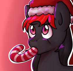 Size: 1280x1245   Tagged: safe, artist:0blackster, oc, oc only, earth pony, pony, candy, candy cane, christmas, commission, digital art, eating, food, hat, holiday, male, santa hat, simple background, solo, stallion, tail