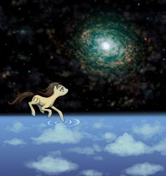 Size: 2380x2520   Tagged: safe, artist:wormologist, oc, oc only, oc:null, earth pony, pony, cloud, galaxy, sky, solo, space