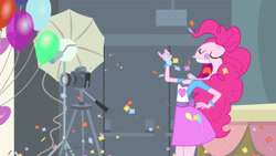 Size: 3410x1920 | Tagged: safe, screencap, pinkie pie, equestria girls, equestria girls (movie), balloon, clothes, confetti, cutie mark, cutie mark on clothes, eyes closed, female, open mouth