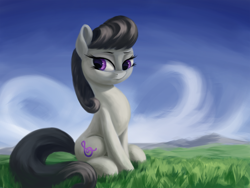 Size: 3000x2250   Tagged: safe, artist:flusanix, octavia melody, earth pony, pony, female, grass, high res, mare, sitting, sitting on grass, solo
