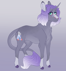 Size: 3720x4020 | Tagged: safe, artist:bluet0ast, oc, oc only, pony, unicorn, colored hooves, gradient background, horn, leonine tail, solo, unicorn oc