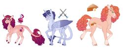 Size: 9165x3600 | Tagged: safe, artist:bluet0ast, oc, oc only, alicorn, earth pony, pony, unicorn, alicorn oc, colored hooves, earth pony oc, female, horn, leonine tail, magical lesbian spawn, mare, offspring, parent:big macintosh, parent:princess cadance, parent:shining armor, parent:sugar belle, parent:sunset shimmer, parent:twilight sparkle, parents:shiningcadance, parents:sugarmac, parents:sunsetsparkle, simple background, transparent background, unicorn oc, wings