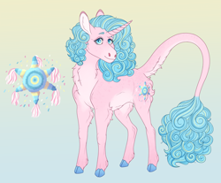 Size: 3300x2728 | Tagged: safe, artist:bluet0ast, oc, oc only, pony, unicorn, abstract background, chest fluff, cloven hooves, colored hooves, female, horn, leonine tail, magical lesbian spawn, mare, offspring, parent:pinkie pie, parent:princess celestia, parents:pinkielestia, solo, unicorn oc