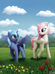 Size: 1125x1500   Tagged: safe, artist:ivg89, princess celestia, princess luna, alicorn, pony, cewestia, cloud, cute, female, filly, lunabetes, meadow, mountain, pink-mane celestia, revised, royal sisters, scenery, siblings, sisters, smiling, spread wings, wings, woona, younger