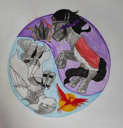 Size: 1036x1080 | Tagged: safe, king sombra, oc, oc:light knight, phoenix, armor, crystal, knight