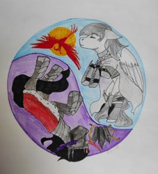 Size: 979x1080 | Tagged: safe, king sombra, oc, oc:light knight, phoenix, armor, crystal, knight