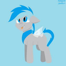 Size: 2000x2000 | Tagged: safe, artist:cottomaine, artist:pegasko, oc, oc only, pony, :p, collaboration, lineless, simple background, smiling, solo, tongue out, vector