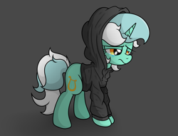 Size: 2962x2263 | Tagged: safe, artist:background basset, lyra heartstrings, pony, unicorn, clothes, depressed, dig the swell hoodie, gray background, hoodie, sad, simple background