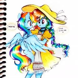 Size: 2713x2713   Tagged: safe, artist:liaaqila, rainbow dash, pegasus, pony, equestria girls, :p, braid, clothes, cute, dashabetes, dress, hat, holding a pony, human ponidox, rainbow dash always dresses in style, self ponidox, spread wings, tongue out, traditional art, wings