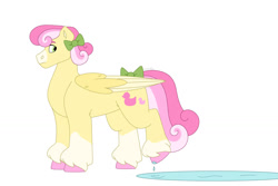 Size: 1280x854 | Tagged: safe, artist:itstechtock, oc, oc:water lily, pegasus, pony, bow, female, mare, puddle, simple background, solo, tail bow, white background