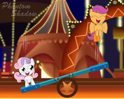 Size: 1920x1536 | Tagged: safe, artist:phantomshadow051, scootaloo, sweetie belle, pony, circus caravan, female, seesaw, sonic lost world