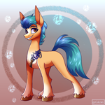 Size: 2500x2500   Tagged: safe, artist:spirit-fire360, hitch trailblazer, earth pony, pony, g5, belt, cute, gradient background, grin, high res, hitchbetes, looking at you, male, markings, missing cutie mark, smiling, smiling at you, solo, stallion, unshorn fetlocks