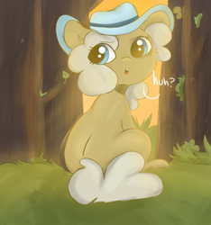 Size: 1811x1931 | Tagged: safe, artist:mushy, earth pony, blue eyes, butt, female, grass, hat, mare, shading, sitting, sunset, tree