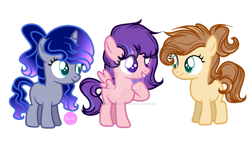 Size: 1024x615 | Tagged: safe, artist:stardustshadowsentry, oc, oc only, earth pony, pegasus, pony, unicorn, deviantart watermark, female, filly, obtrusive watermark, simple background, transparent background, watermark