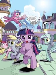 Size: 768x1024 | Tagged: safe, artist:pencils, derpy hooves, lyra heartstrings, pacific glow, twilight sparkle, alicorn, earth pony, pegasus, unicorn, idw, spoiler:comic, spoiler:comic101, canterlot, comic, galloping, preview, season 10, twilight sparkle (alicorn)
