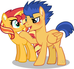 Size: 860x805 | Tagged: safe, artist:star-gaze-pony, flash sentry, sunset shimmer, pegasus, pony, unicorn, blushing, dreamworks face, female, flashimmer, looking at each other, male, mare, open mouth, open smile, scrunchy face, shipping, simple background, smiling, smiling at each other, stallion, straight, transparent background