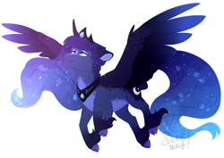 Size: 1754x1240 | Tagged: safe, artist:silentwolf-oficial, princess luna, alicorn, pony, cloven hooves, female, floppy ears, mare, simple background, solo, speedpaint, spread wings, unshorn fetlocks, white background, wings