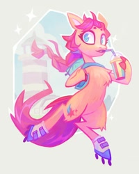 Size: 1080x1350 | Tagged: safe, artist:adreamera, sunny starscout, earth pony, pony, semi-anthro, g5, backpack, bipedal, chest fluff, drink, drinking, female, leg fluff, roller skates, smoothie, solo, straw
